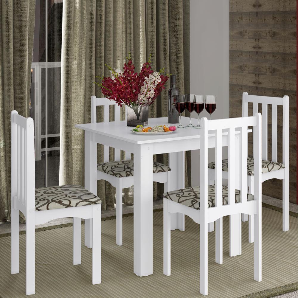 Conjunto Sala De Jantar Composto Por Mesa 81 Cm 4 Cadeiras Firenze  -> Acabamento Sala De Jantar