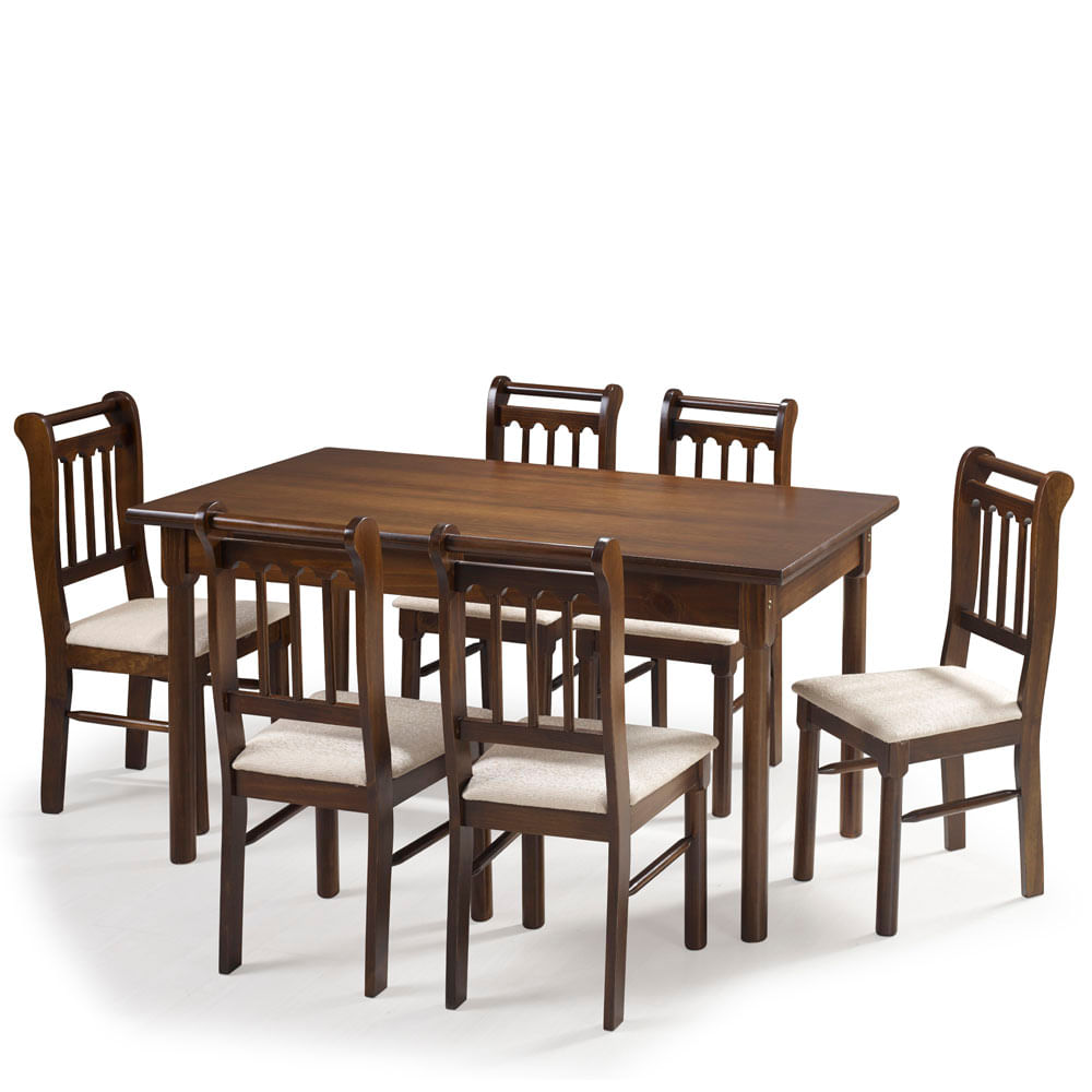 Sala De Jantar Kingston Mesa 150cm E 6 Cadeiras Acabamento Verniz  -> Acabamento Sala De Jantar