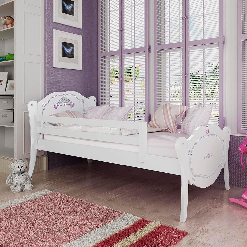 d596011eed Cama Infantil Princesa Encantada com Grade de Proteção - Branco - CasaTema