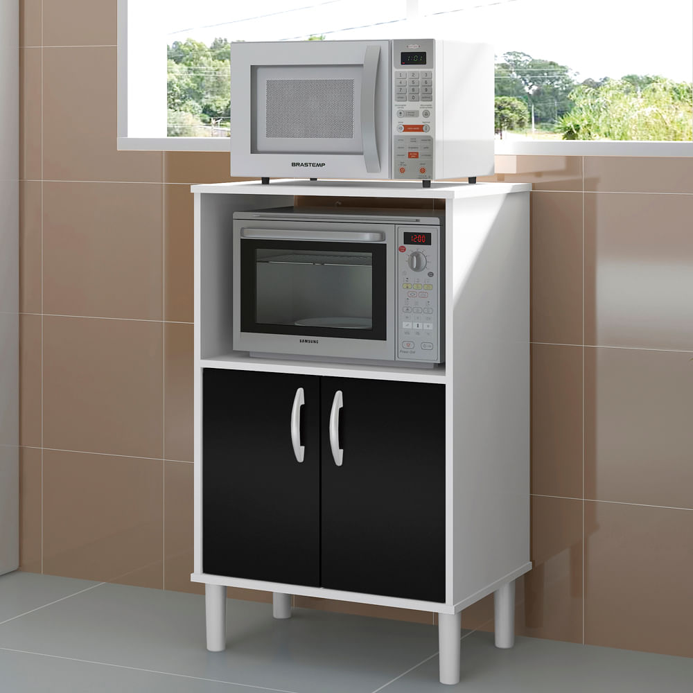 Balc O De Cozinha Para Forno Branco Preto Casatema