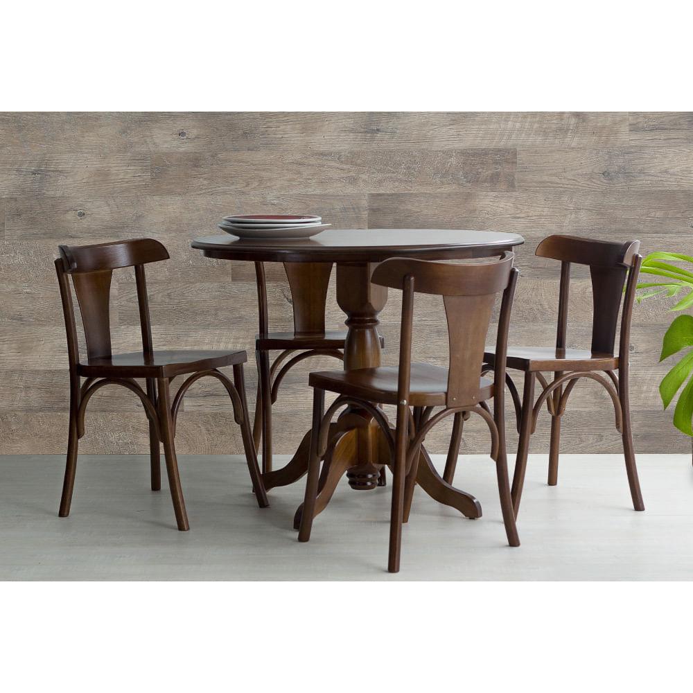 7849ea867 Mesa de Jantar Redonda Torneada Sid com 4 Cadeiras Londres em Madeira  Maciça  MDF - Verniz Pinhão - CasaTema
