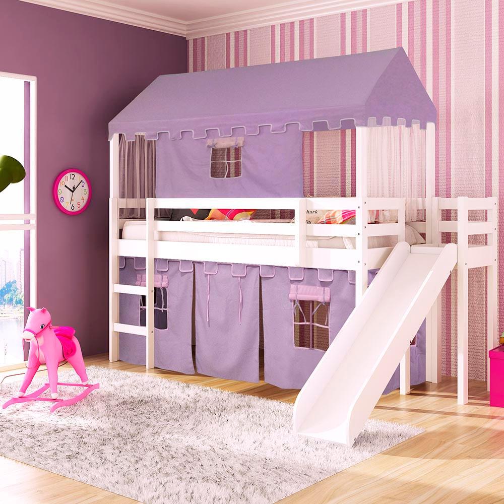 Cama infantil com escorregador Lateral/Transversal Tenda Castelo Lilás Telhado Completo