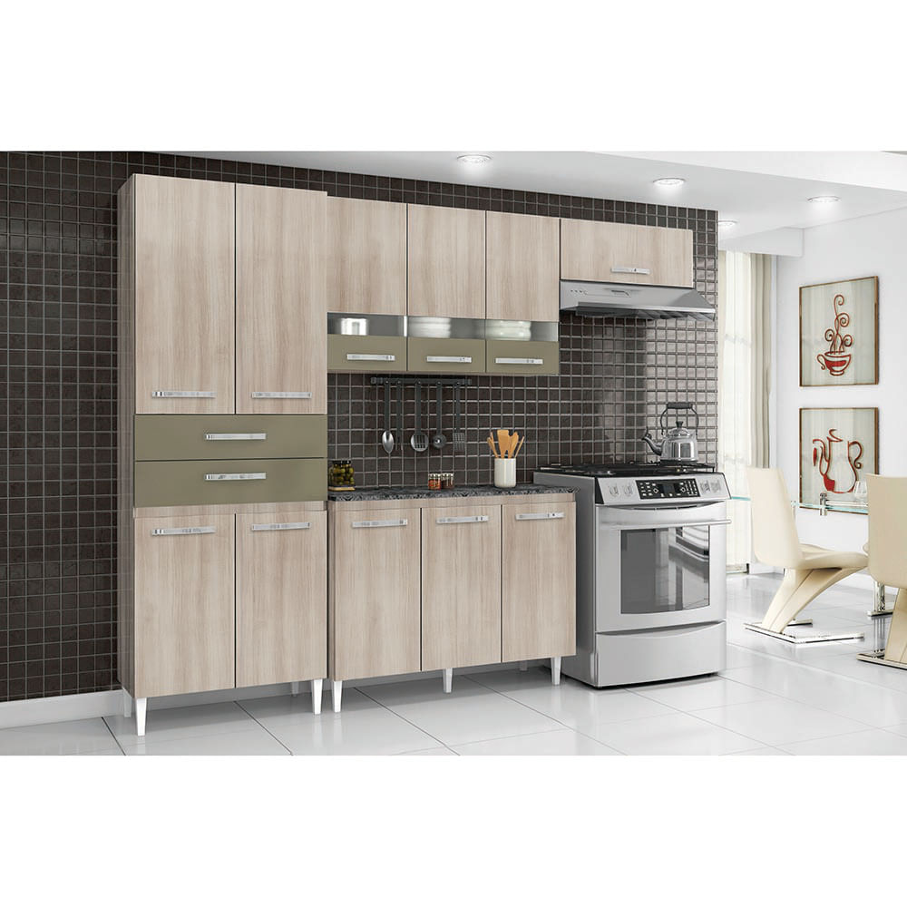 Cozinha Compacta Julia Com Porta De Vidro Paneleiro Duplo Arm Rio