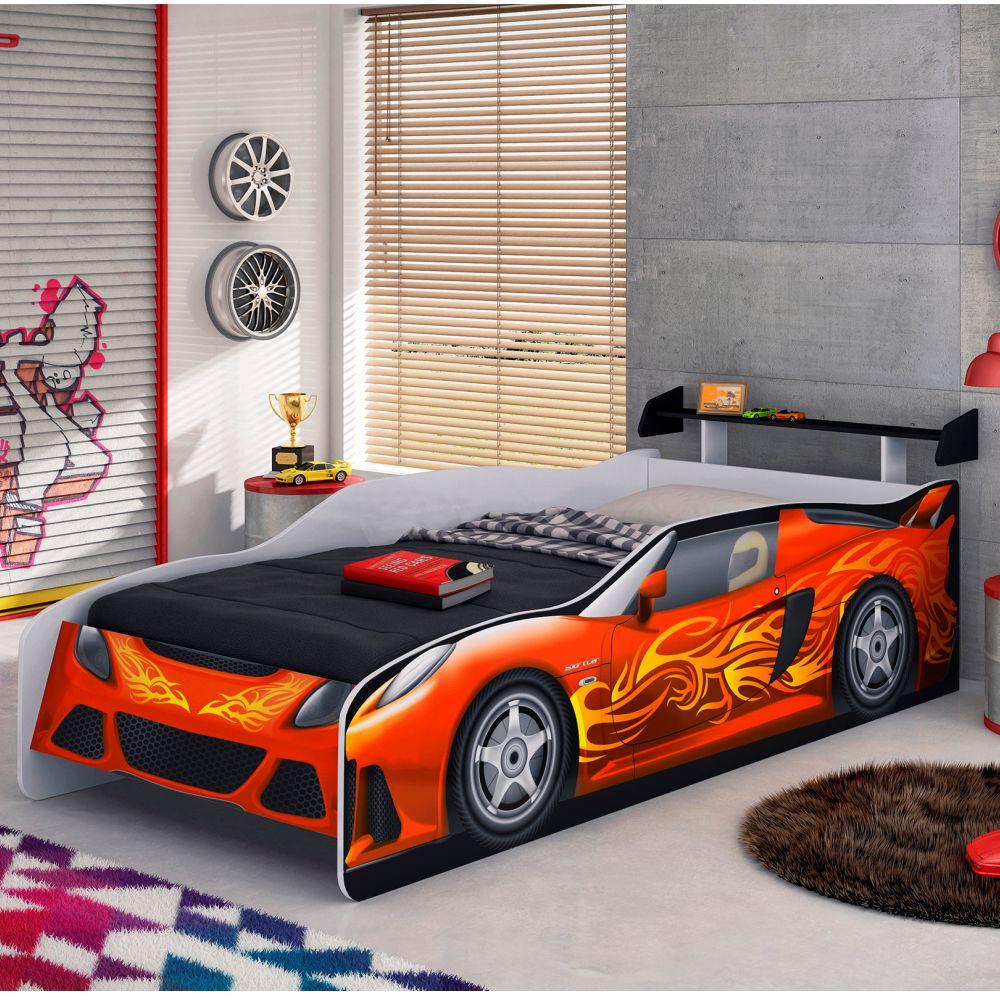 Cama Sport Car Infantil com Pintura Serigrafia e UV Branco Fosco/ Vermelho