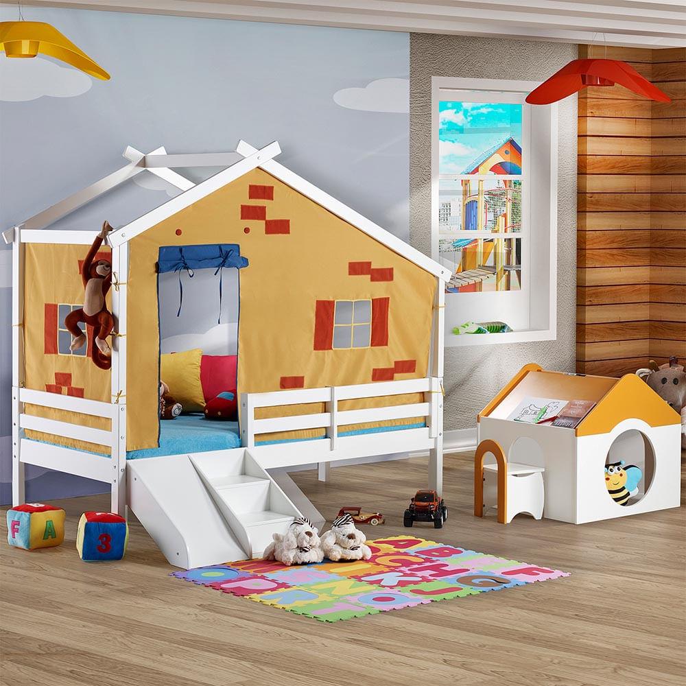 Cama infantil prime c telhado v escorrega grade de - Doseles para camas infantiles ...