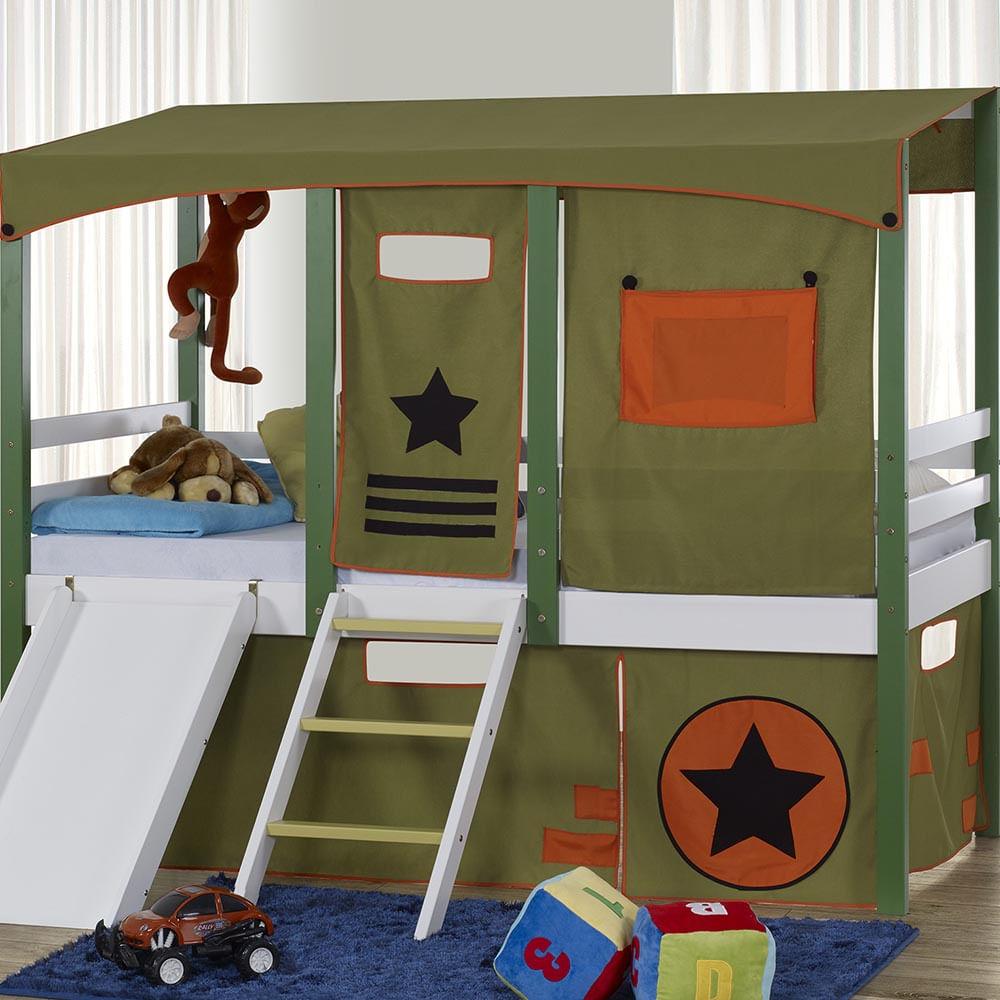 8307bd1721 Cortina Tenda Army para Cama Infantil Camping - CasaTema
