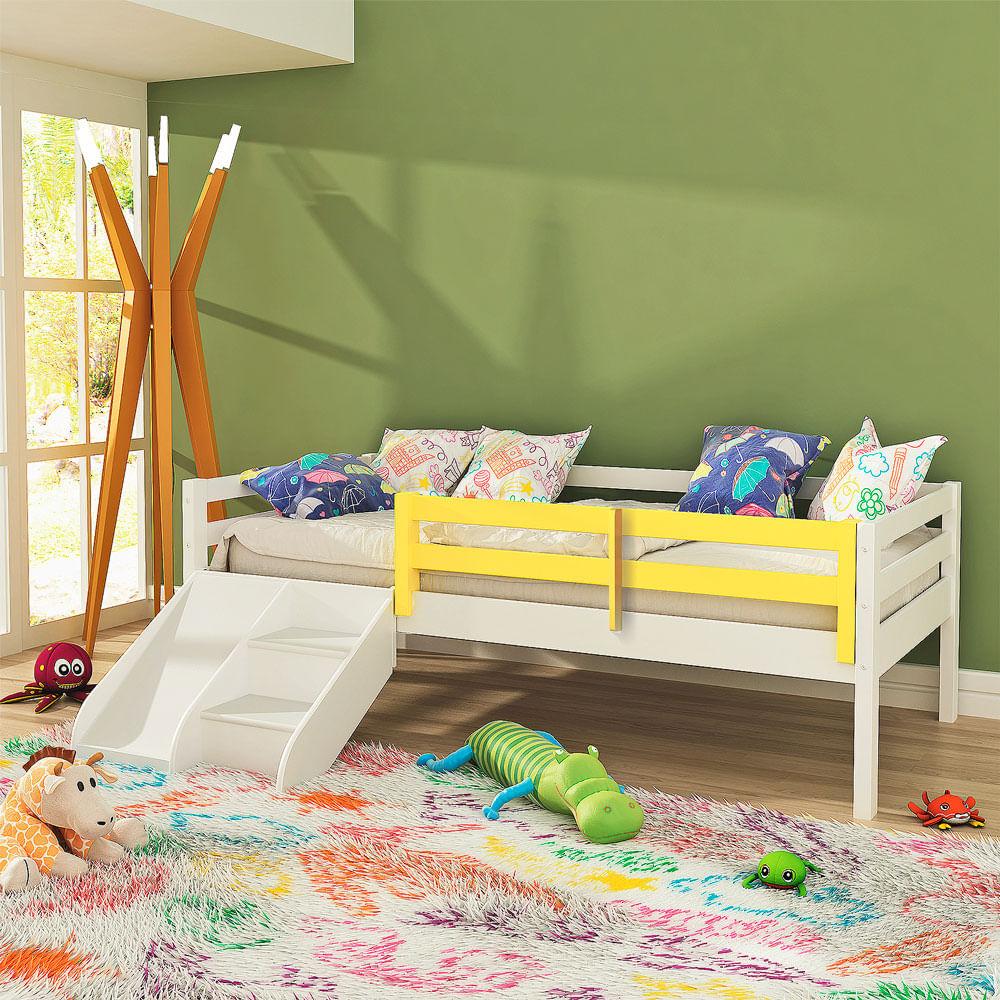 8e5a03a3d4 Cama Infantil Prime com Grade de Proteção Amarelo e Escadinha  Escorrega - Madeira  Maciça - Branco - CasaTema