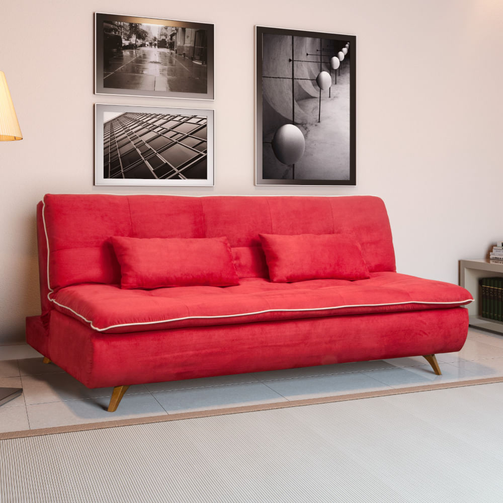 Sof Cama Ma Ra P S Inclinados Estrutura Madeira Eucalipto  -> Papel De Parede Para Sala Com Sofa Vermelho