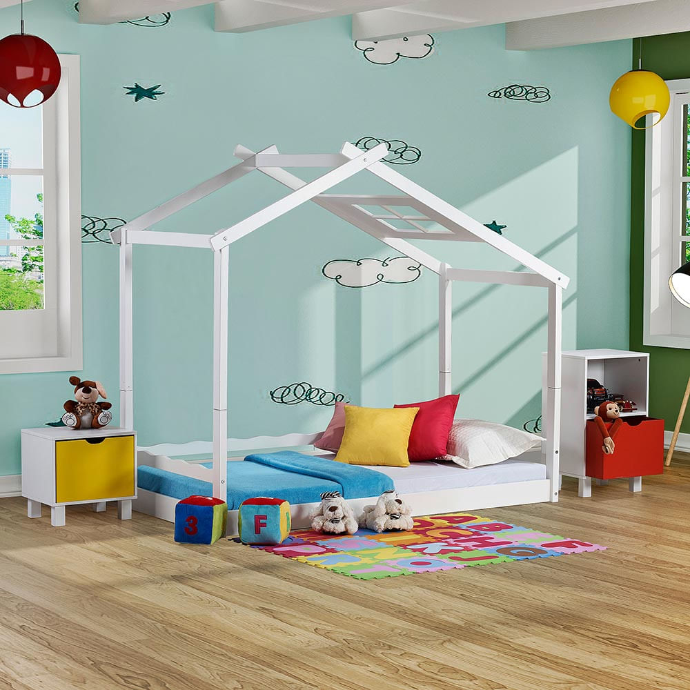 Cama Infantil Montessoriano com Telhado V em Madeira Maciça - Casatema