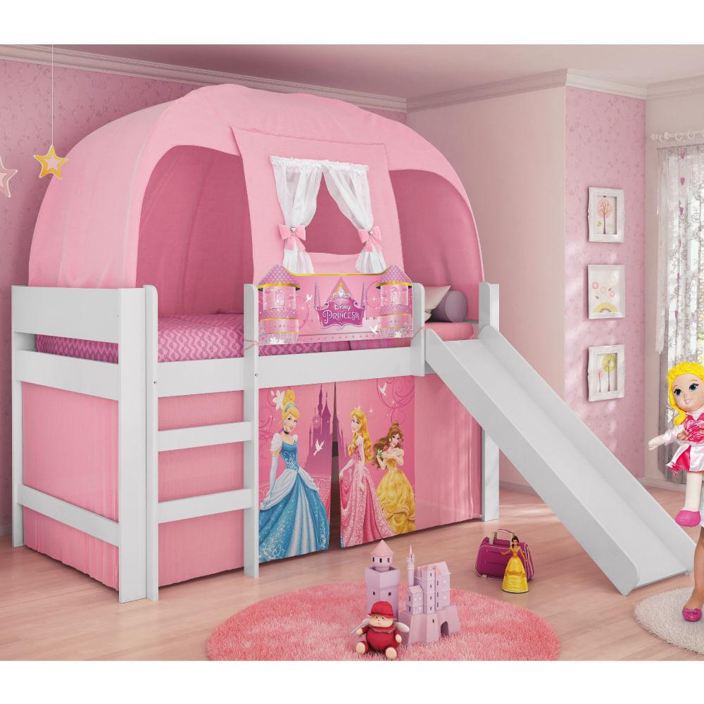 31e2004c1a Cama Infantil Princesas Disney Play com Escorregador e Cabana - Pura Magia  - CasaTema