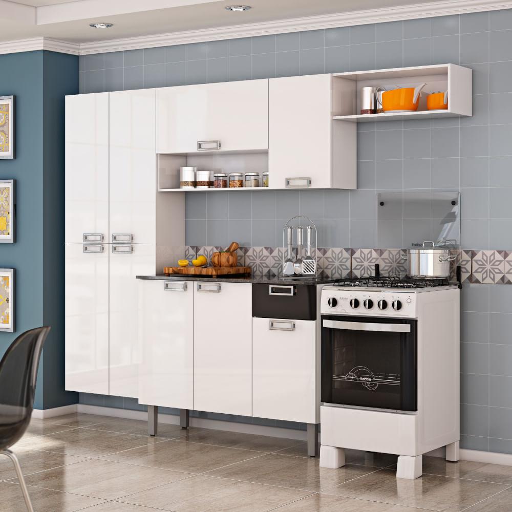 Cozinha Compacta Amora Paneleiro A Reos E Balc O Itatiaia Branco