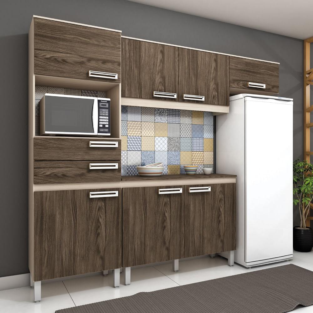 Cozinha Compacta 7 Portas 2 Gavetas Com Balc O Briz Fendi Moka