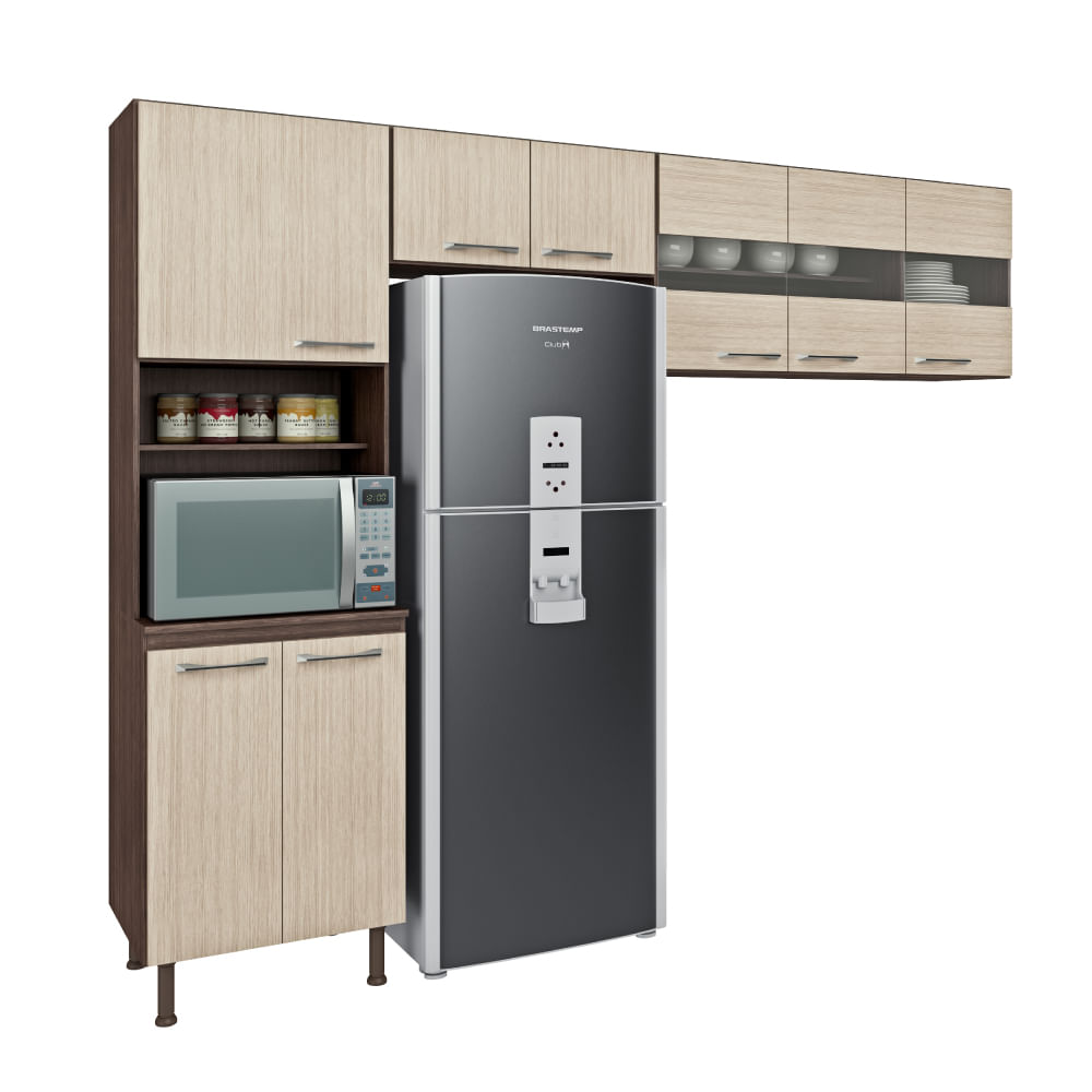 Cozinha Em L Lara 8 Portas 2 Nichos Vis O M Veis Bano Aspen