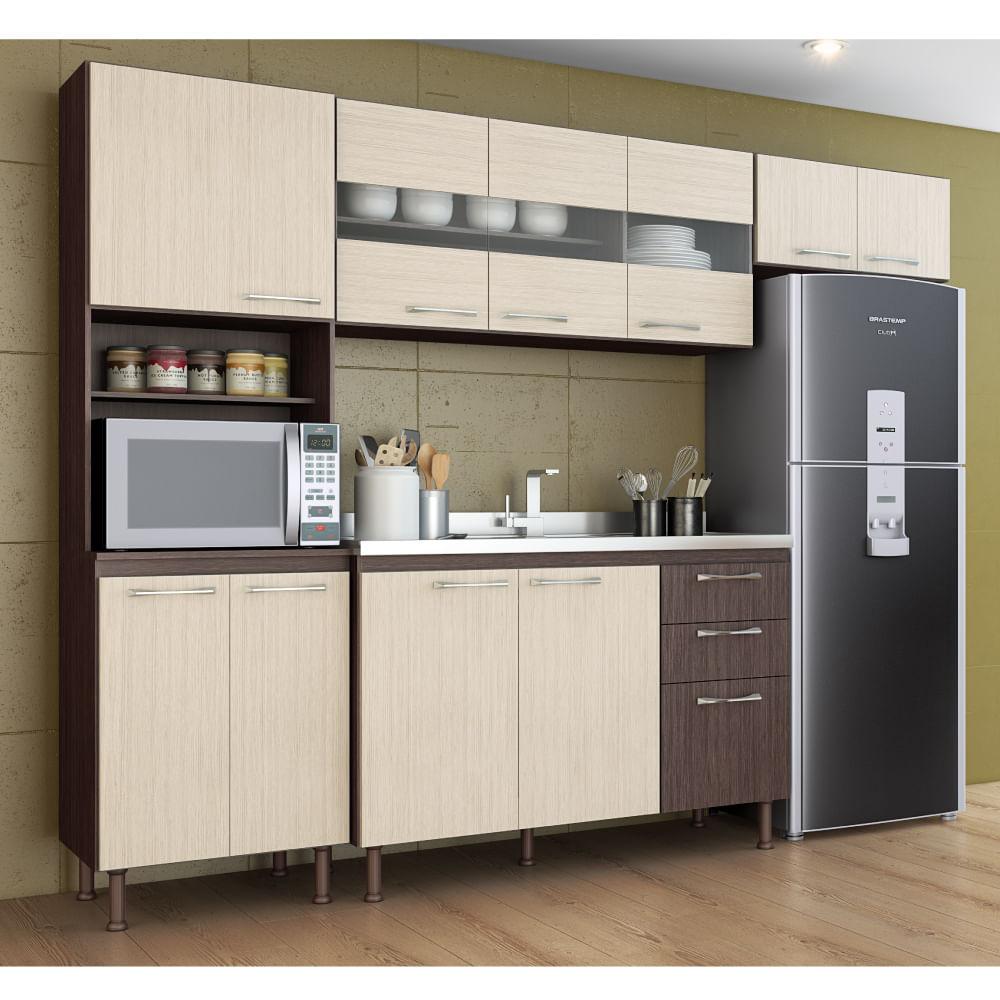 Cozinha Compacta Lara 11 Portas Com Balc O De Pia Vis O Bano