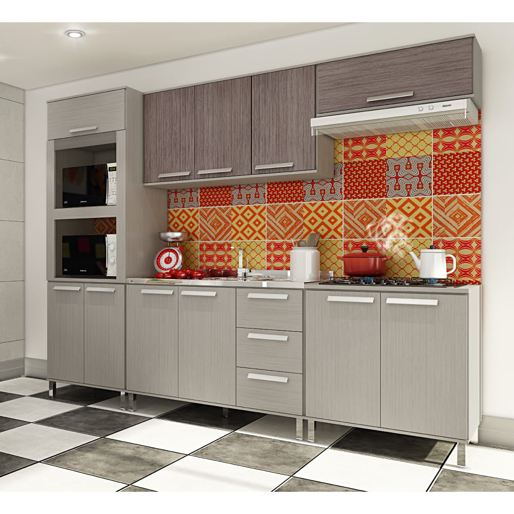Cozinha Modulada Palatare Com Balc O De Pia 3 Gavetas Vis O Aspen