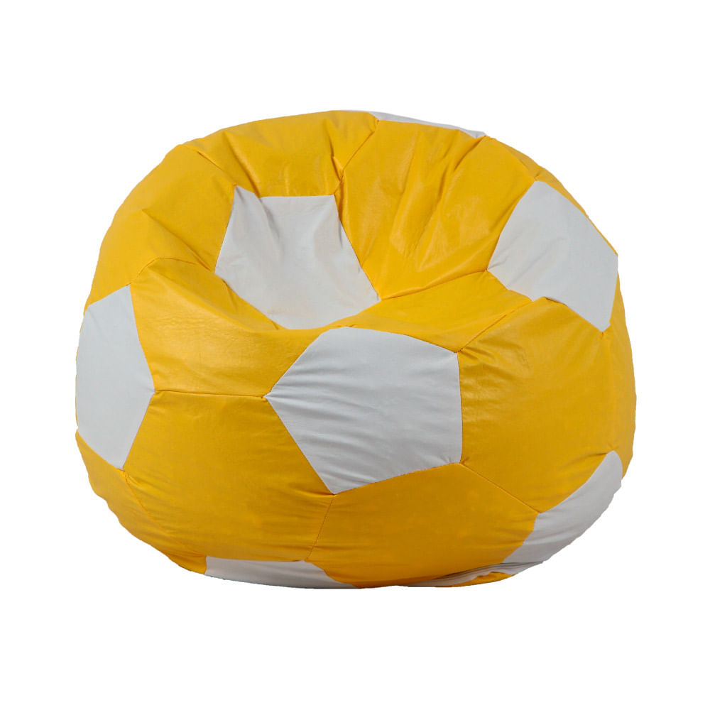 puff mfofão bola de futebol amarelo
