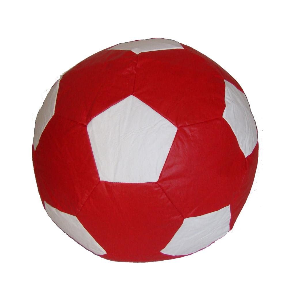 491308e507d11 Puff Bola de Futebol Infantil - Vermelho  Branco - CasaTema