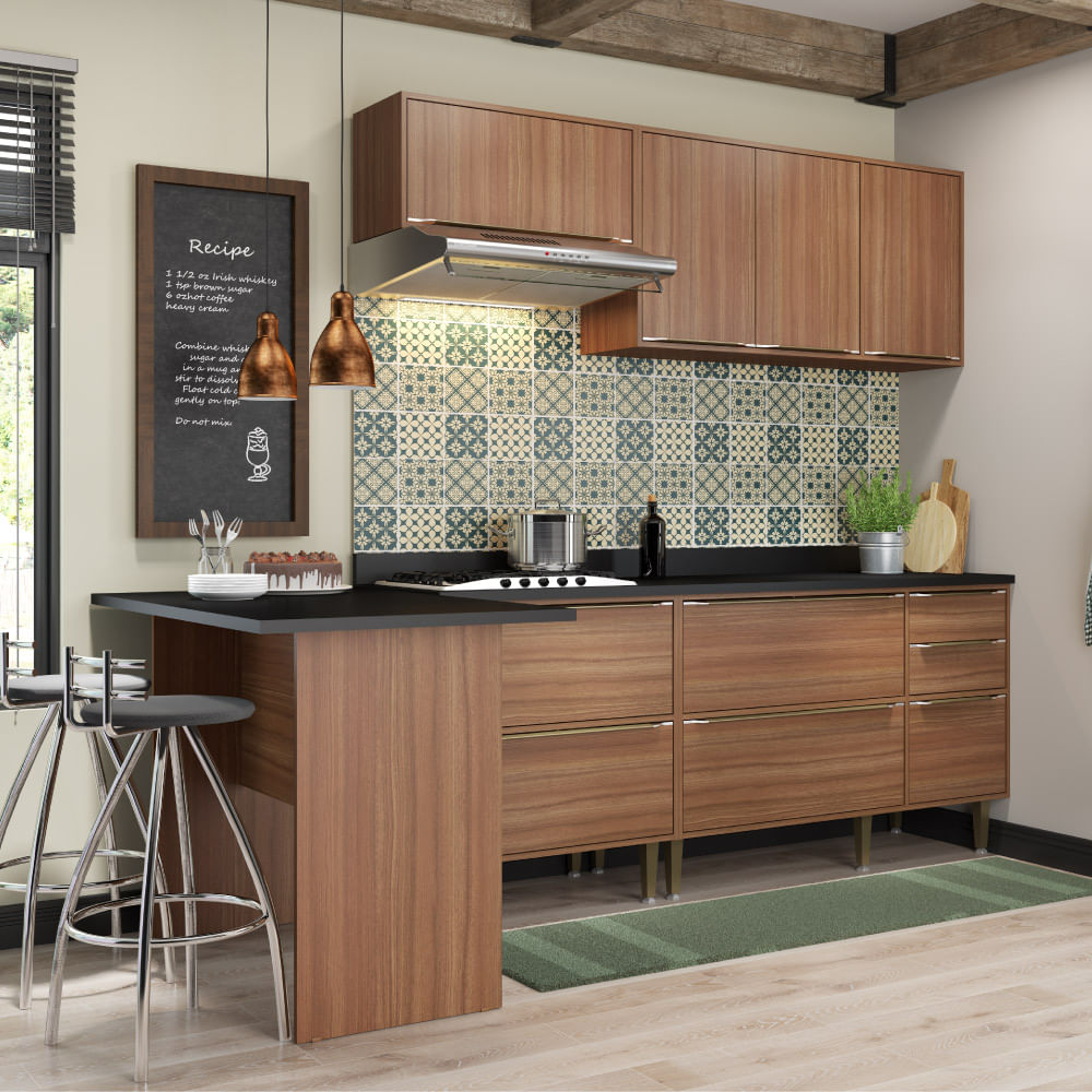 Cozinha Compacta Cal Bria Com A Reos Bancada E 2 Balc Es Nogueira