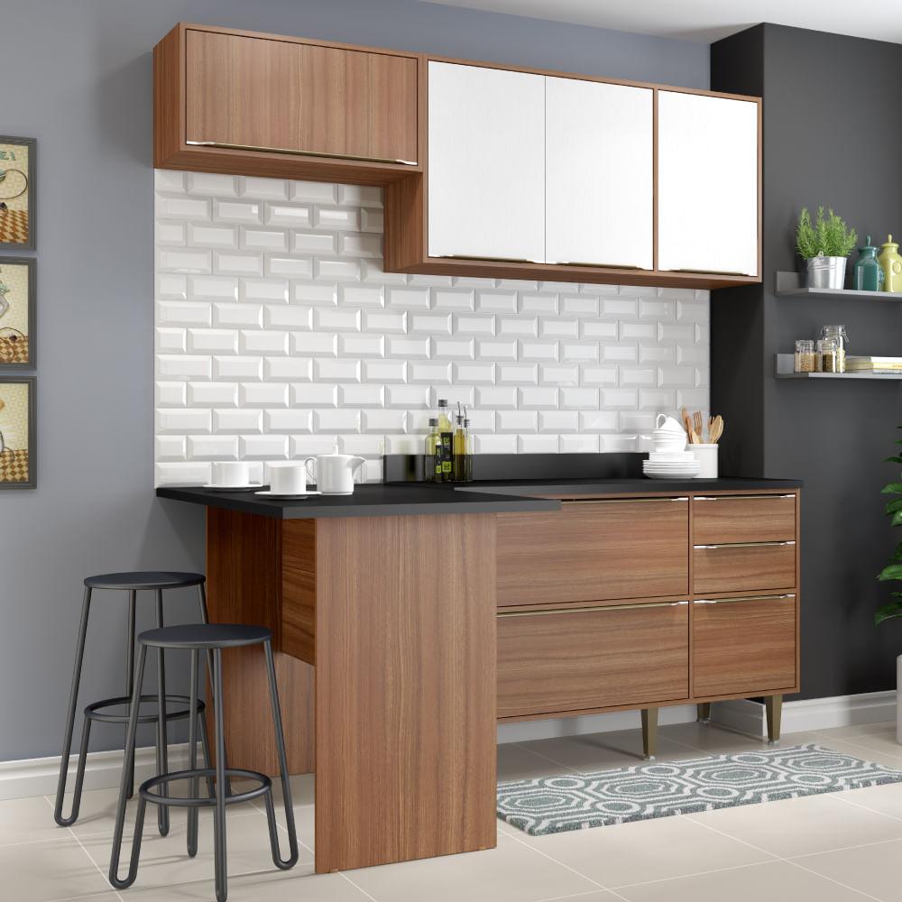 Cozinha Compacta Cal Bria Bancada A Reo E Balc O Nogueira Branco