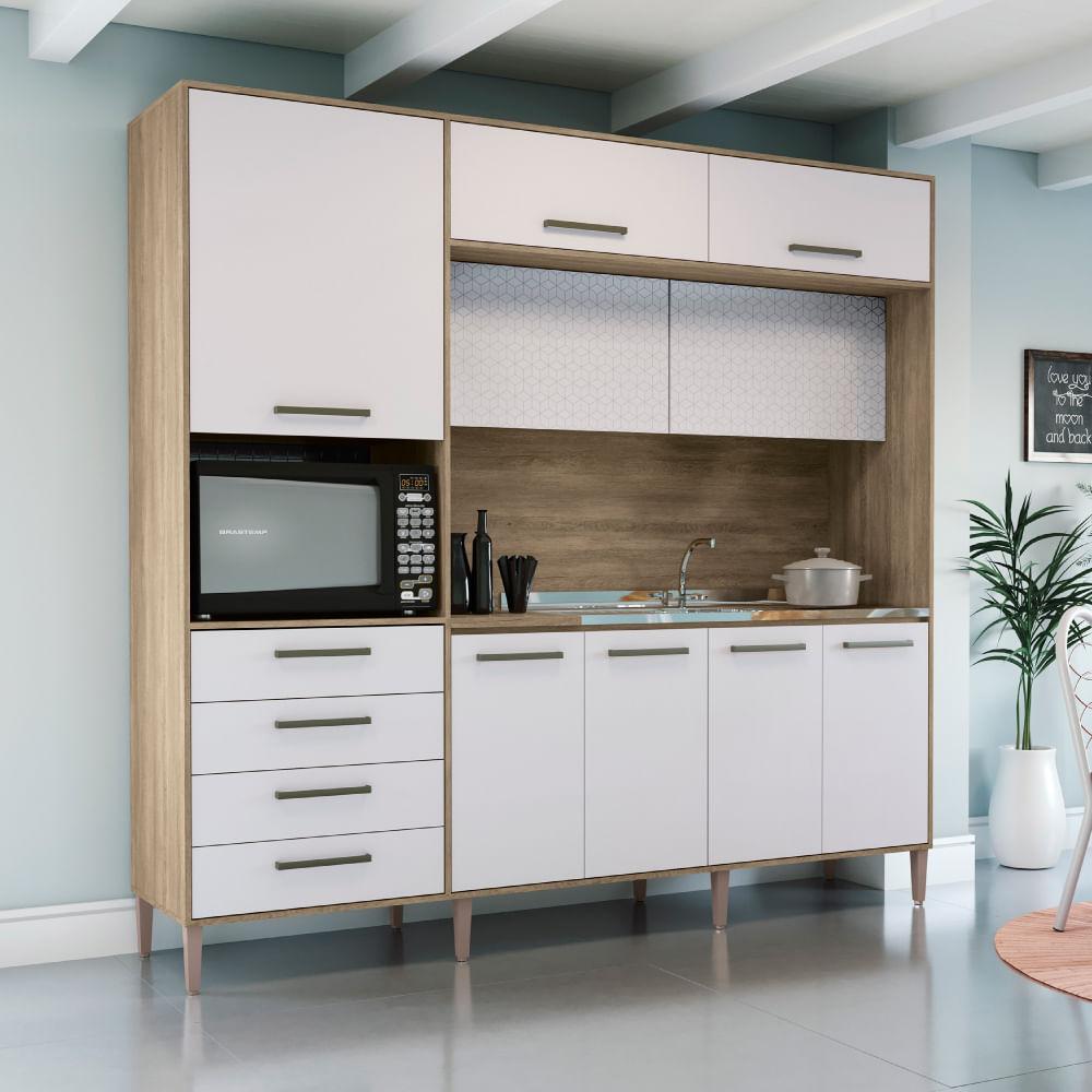 Kit Cozinha Para Pia 9 Portas 4 Gavetas G780 Kappesberg Nogal