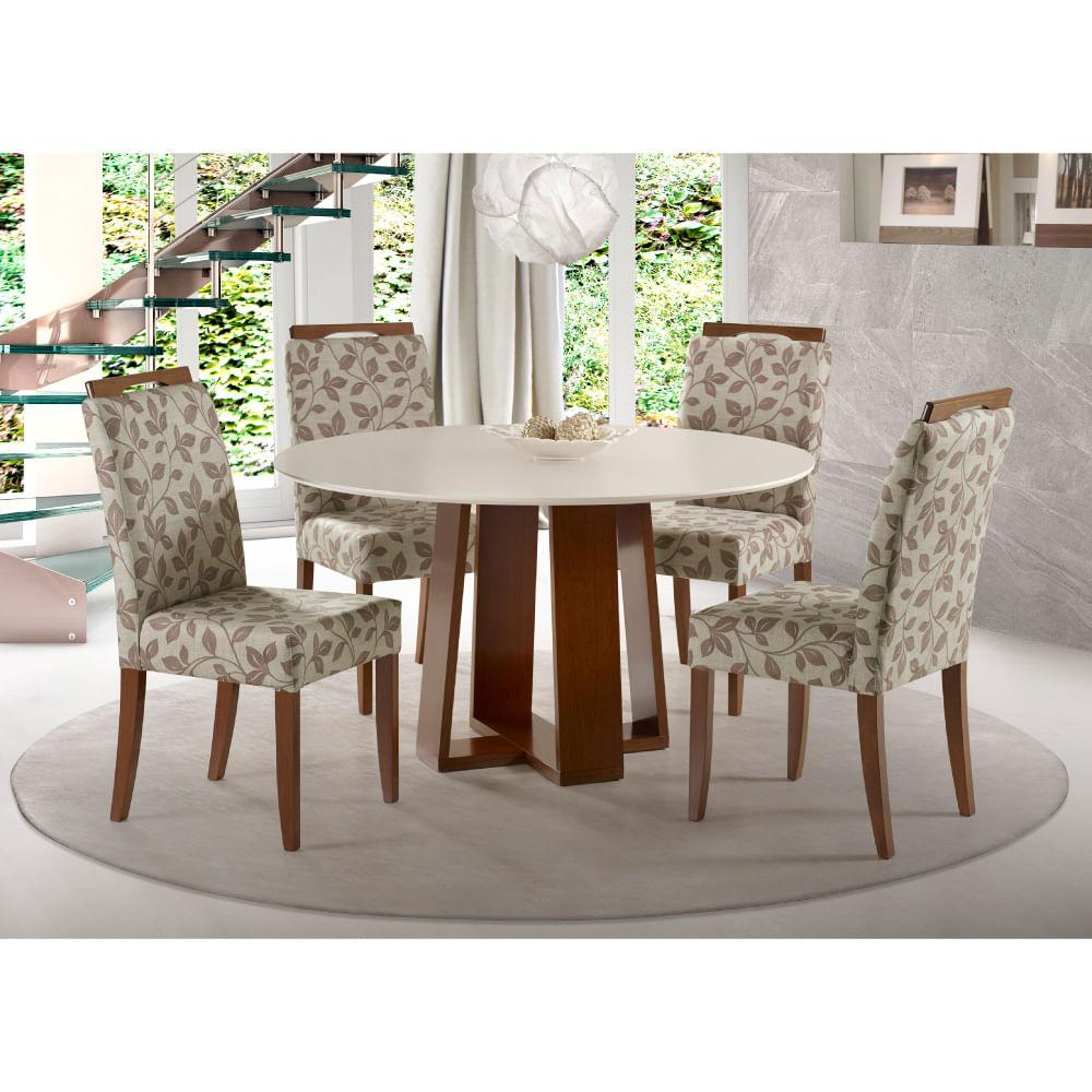 44707b6e8 Conjunto Mesa de Jantar com 4 Cadeiras Estofada - Madeira Laca Off White -  CasaTema