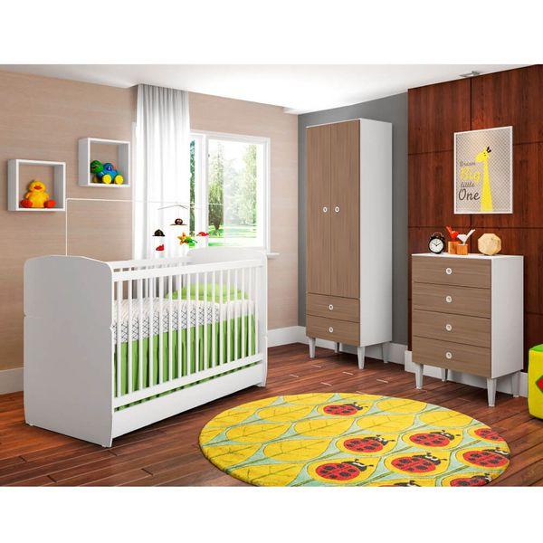 2e82962554 Quarto de Bebê Docinho Berço Mini Cama Roupeiro e Cômoda Montana