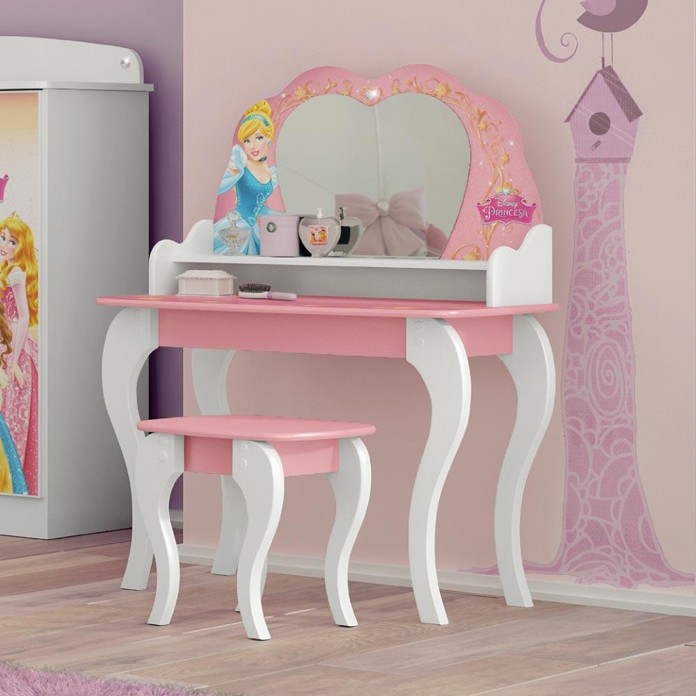 83328fc0b9 Penteadeira Infantil Princesas Disney com Banqueta - Pura Magia - CasaTema