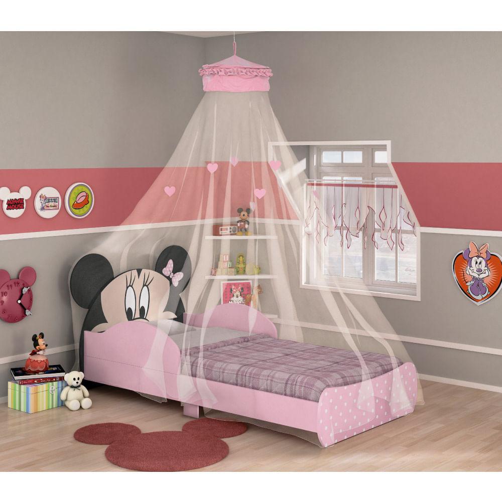 f36d7a21f4 Mini Cama Infantil Minnie Disney com Dossel de Teto - Pura Magia - CasaTema