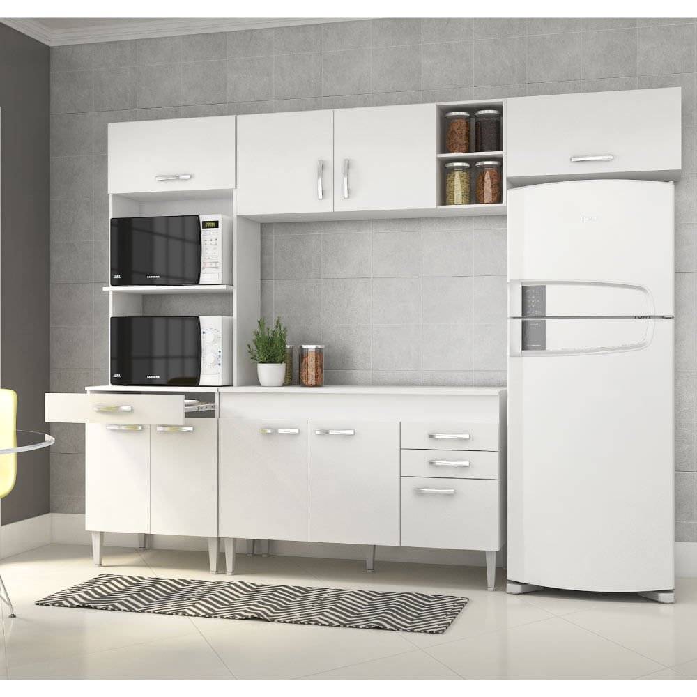 Cozinha Compacta Com Bancada Embutida Classic Branco Casatema