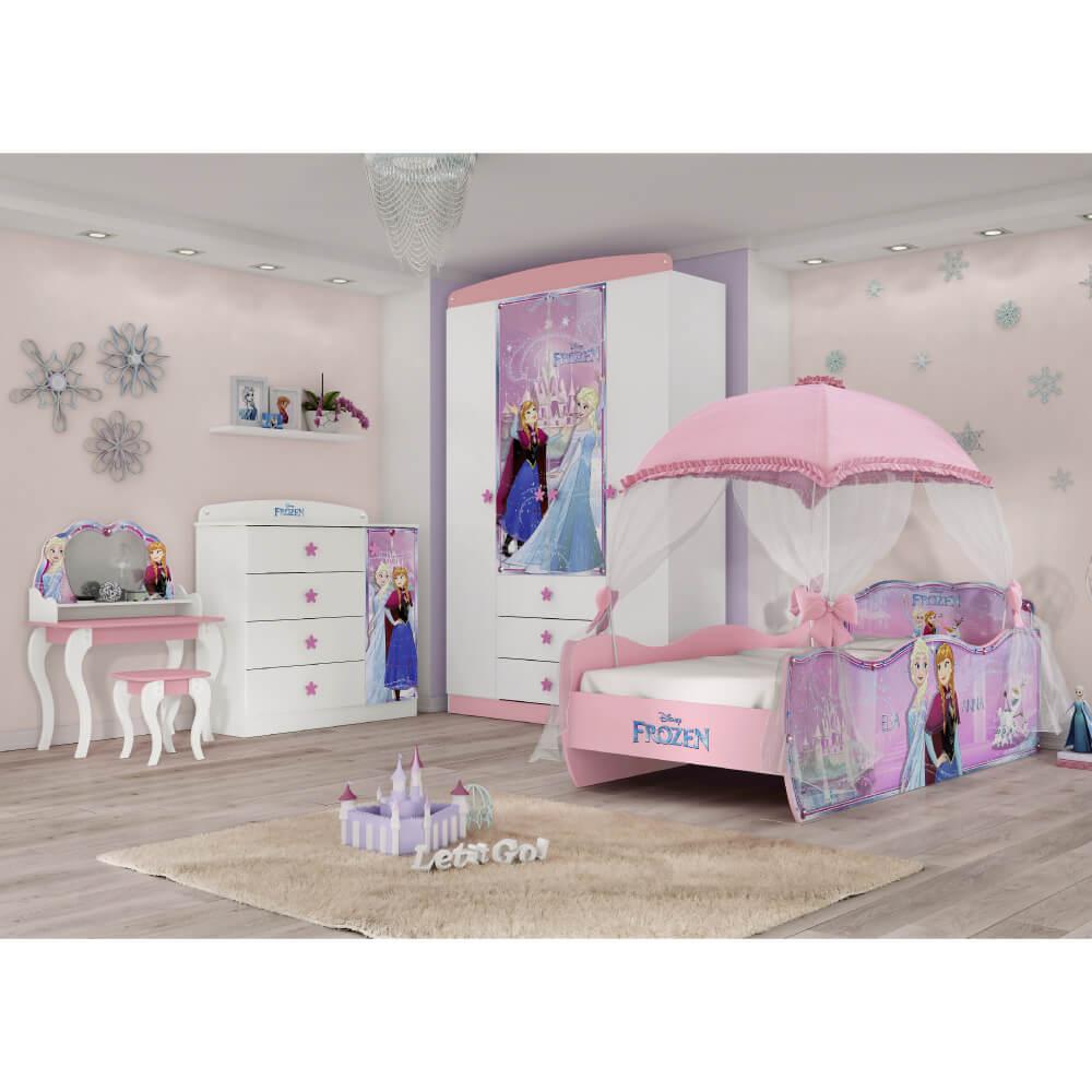 d98e2289fd Quarto Infantil Completo Frozen Disney Star com Dossel Pura Magia ...