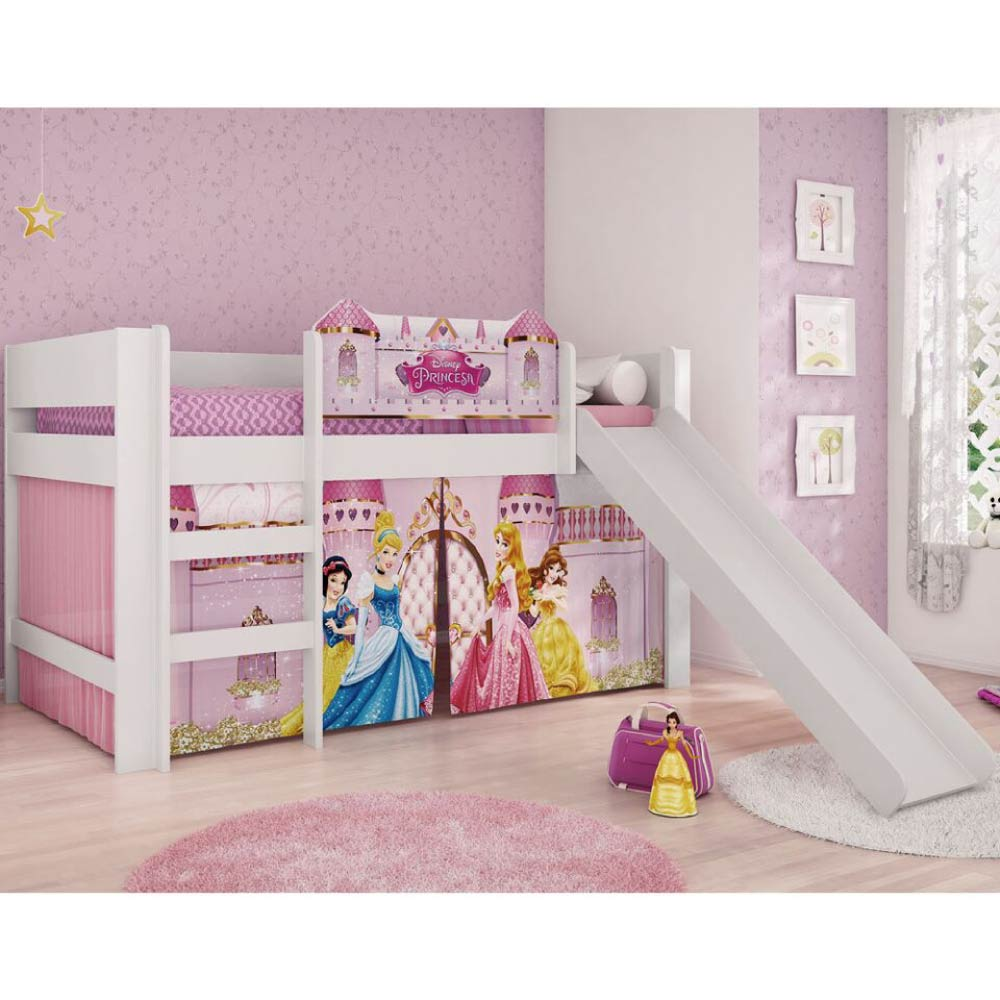 63dda19ecb Cama Infantil com Escorregador Princesas Disney Play - Pura Magia - CasaTema