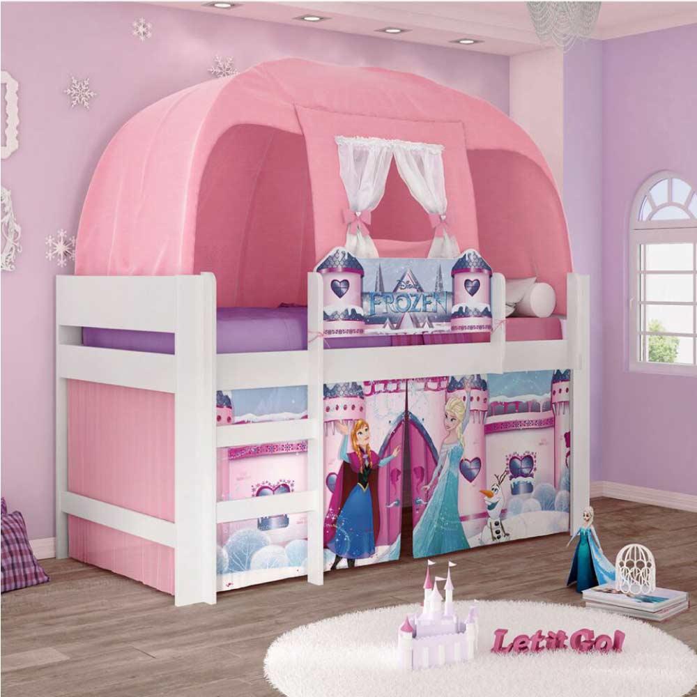0a48596e91 Cama Infantil com Barraca Frozen Disney Play Rosa - Pura Magia - CasaTema