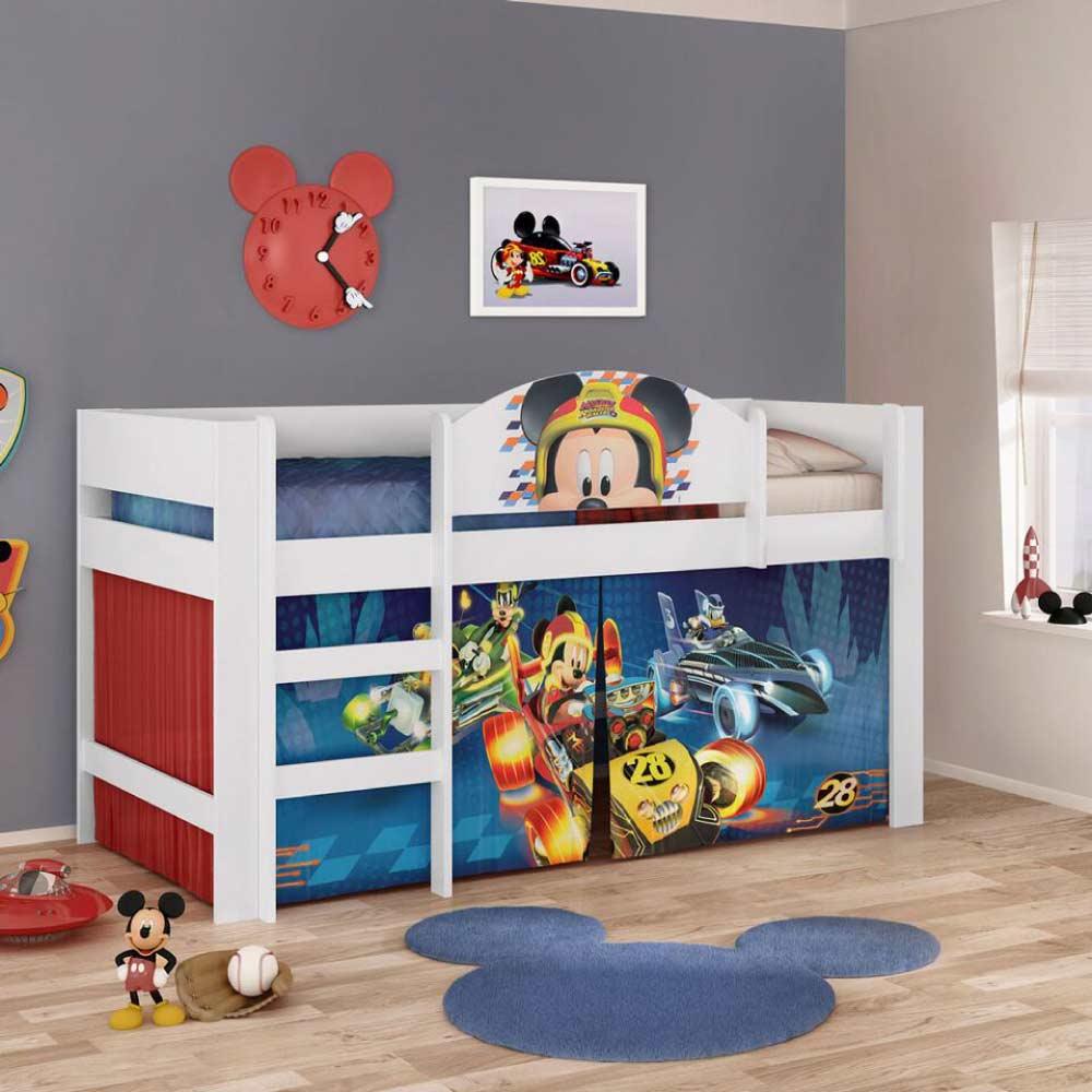 8d55347510 Cama Alta Infantil Mickey Disney Play com Cortina - Pura Magia - CasaTema