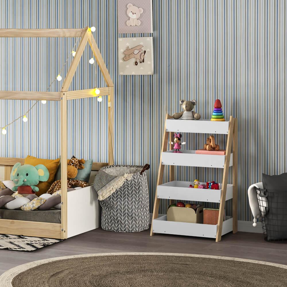 quarto infantil com organizador de brinquedos